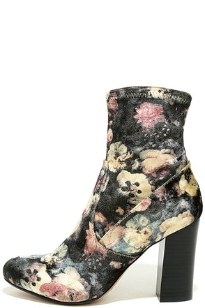 Report Liria Black Multi Velvet High Heel Mid-Calf Boots at Lulus.com!