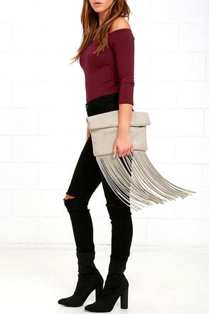 Palomino Black Suede Leather Fringe Clutch at Lulus.com!