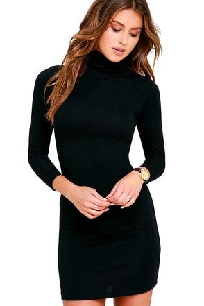 Phenomenal Feeling Black Long Sleeve Bodycon Dress 1