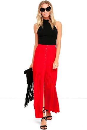 Prairie Darling Red Maxi Skirt at Lulus.com!