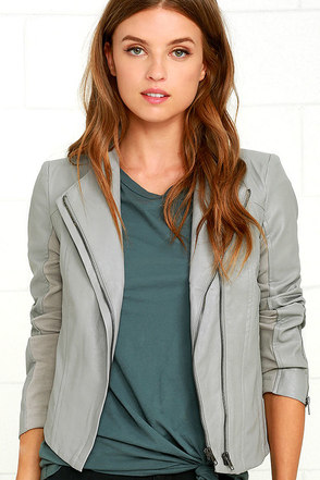 Chic Clique Grey Vegan Leather Jacket at Lulus.com!