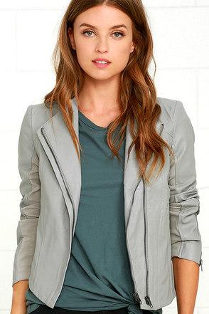 Chic Clique Grey Vegan Leather Jacket at Lulus.com!