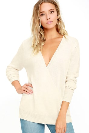 Aesthetic Cream Wrap Sweater at Lulus.com!
