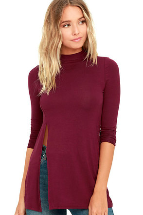 Eyes On Me Dusty Purple Long Sleeve Tunic Top at Lulus.com!