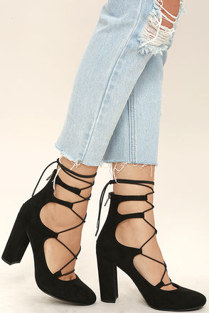 Favorite Season Black Suede Lace-Up Heels at Lulus.com!
