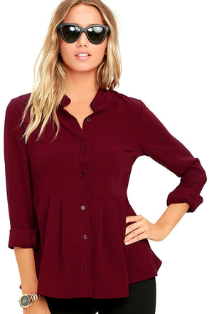 Best Practice Wine Red Long Sleeve Peplum Top at Lulus.com!