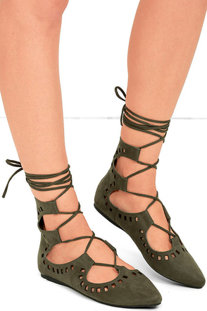 Suede Ya Look Khaki Cutout Lace-Up Flats at Lulus.com!