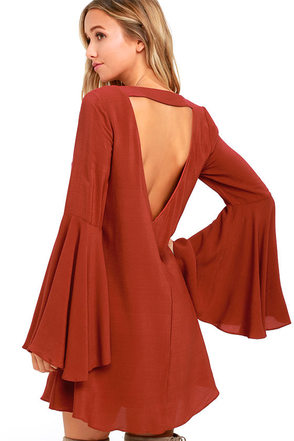 Something Magical Rust Red Long Sleeve Shift Dress at Lulus.com!