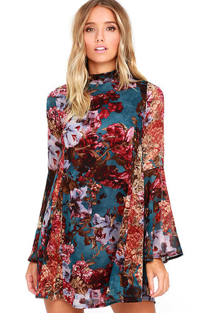 Inspire Me Teal Floral Print Long Sleeve Dress at Lulus.com!