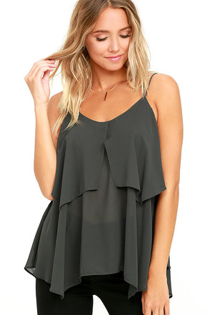 Message in a Bottle Charcoal Grey Top at Lulus.com!