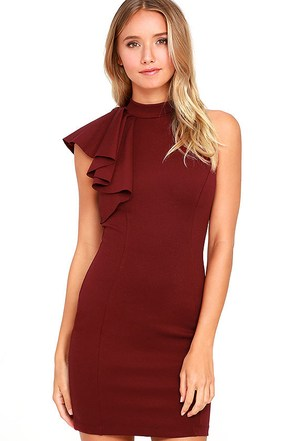 Au Revoir Burgundy Bodycon Dress at Lulus.com!