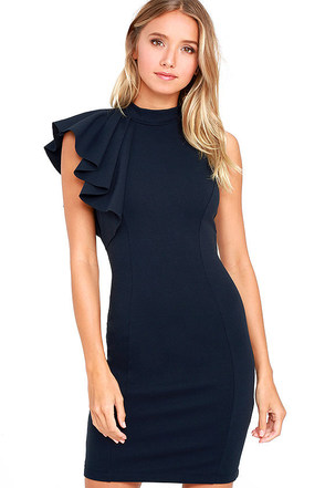 Au Revoir Navy Blue Bodycon Dress at Lulus.com!