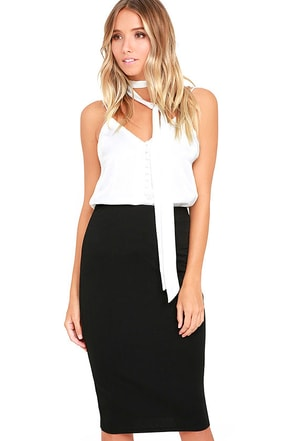 Shout Out Black Pencil Skirt at Lulus.com!