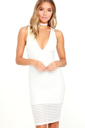 Along the Lines White Bodycon Dress at Lulus.com!