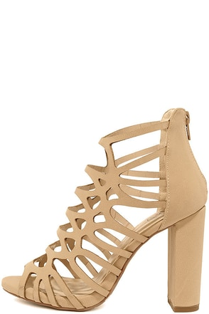 Bare Your Sole Natural Caged High Heel Sandals at Lulus.com!