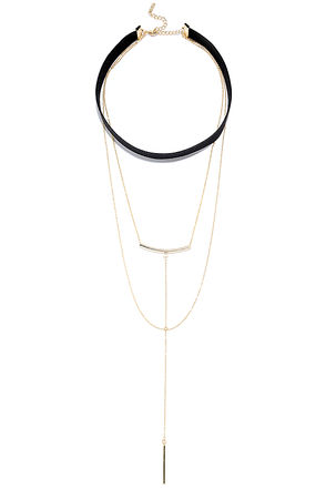 Brunei Black and Gold Layered Choker Necklace at Lulus.com!