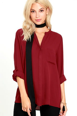 Oxford Street Wine Red Button-Up Top at Lulus.com!