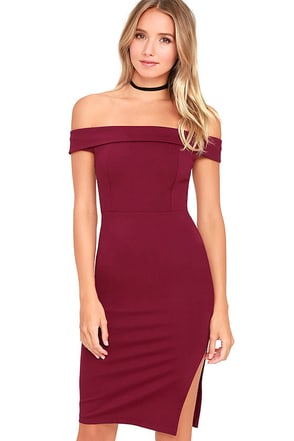Foxy Lady Burgundy Off-the-Shoulder Bodycon Dress at Lulus.com!