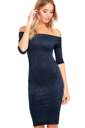Still the One Navy Blue Suede Off-the-Shoulder Dress at Lulus.com!