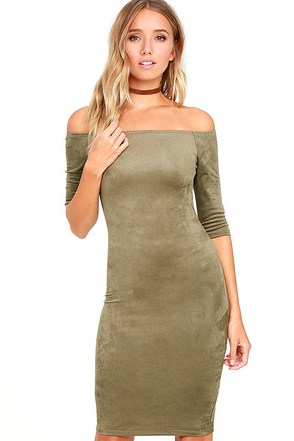 Still the One Olive Green Suede Off-the-Shoulder Dress at Lulus.com!