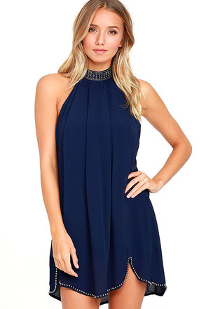 NBD Lourdes Navy Blue Beaded Dress at Lulus.com!