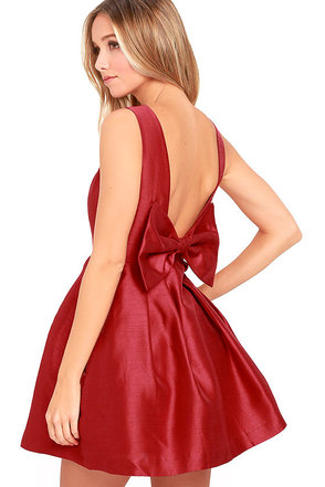 Bow Me a Kiss Wine Red Backless Dress at Lulus.com!