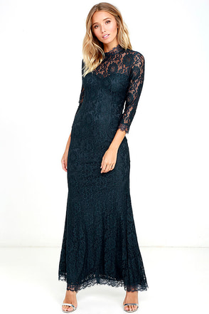 More Than Love Navy Blue Lace Maxi Dress at Lulus.com!