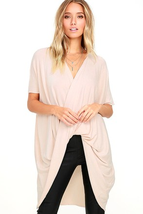 Consideration Light Blush Wrap Sweater at Lulus.com!