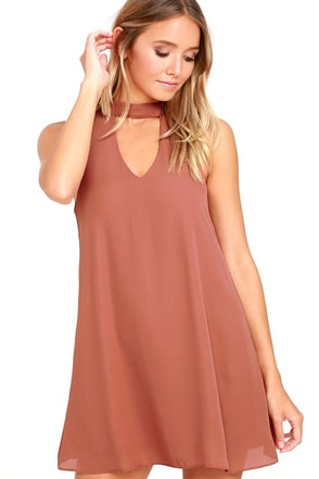 Groove Thing Rusty Rose Swing Dress at Lulus.com!