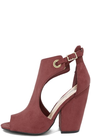 Say Yes Rose Wine Suede Peep-Toe Booties at Lulus.com!