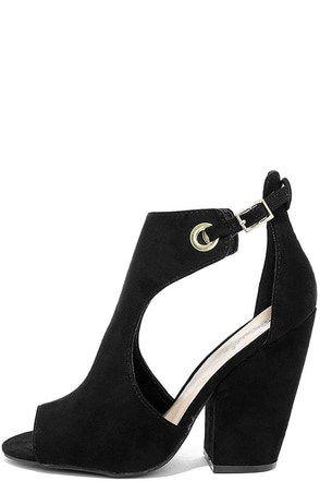 Say Yes Black Suede Peep-Toe Booties at Lulus.com!