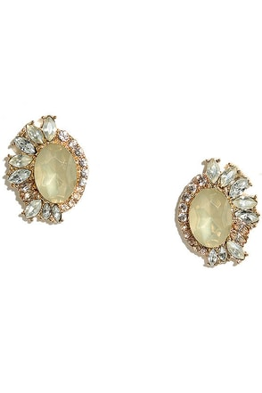 Cherished Heirloom Gold and Champagne Rhinestone Earrings at Lulus.com!