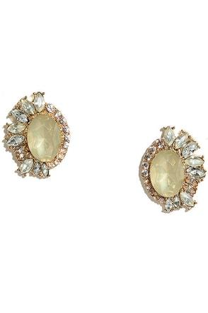 Cherished Heirloom Gold and Champagne Rhinestone Earrings at Lulus.com!