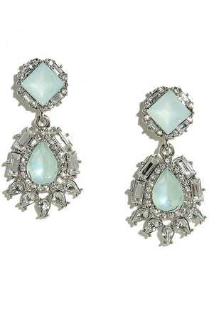 Chateau Silver and Light Blue Rhinestone Earrings at Lulus.com!