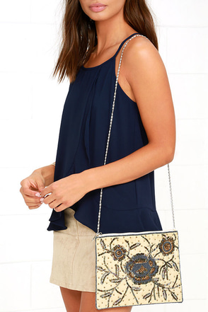 Floral Wonder Beige Beaded Purse at Lulus.com!