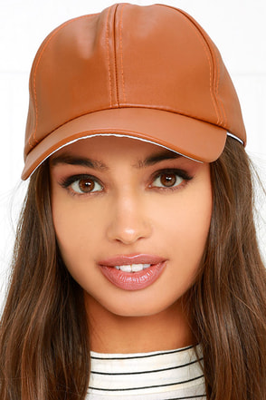 Perfect Weekend Tan Vegan Leather Baseball Cap at Lulus.com!