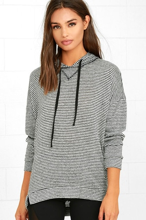 Olive & Oak Roaming Home Heather Grey Striped Hoodie at Lulus.com!