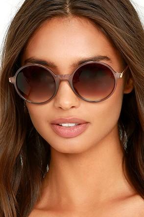 What Goes Around Dark Grey Round Sunglasses at Lulus.com!