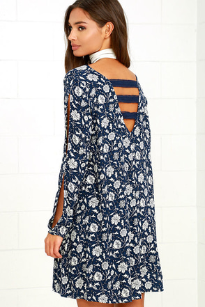 Others Follow Alura Navy Blue Floral Print Swing Dress at Lulus.com!