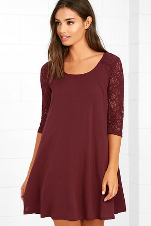 Others Follow Baby Love Burgundy Swing Dress at Lulus.com!