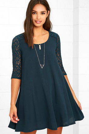 Others Follow Baby Love Navy Blue Swing Dress at Lulus.com!