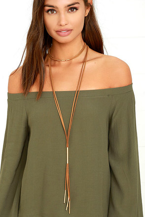 Way to Wow Gold and Tan Layered Choker Necklace at Lulus.com!