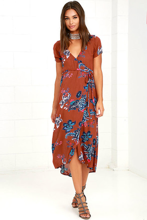 Billabong Wrap Me Up Rust Red Floral Print Wrap Dress at Lulus.com!