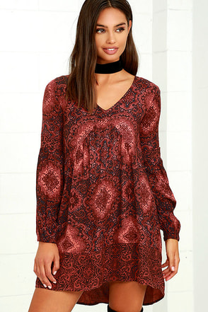Billabong Clearest Melody Rust Red Print Babydoll Dress at Lulus.com!