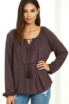 Others Follow Shake It Up Washed Plum Long Sleeve Top at Lulus.com!
