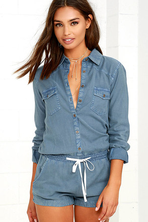 Element Eden Poppy Blue Chambray Romper at Lulus.com!