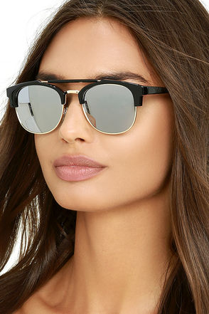 Polo Match Black and Gold Mirrored Sunglasses at Lulus.com!