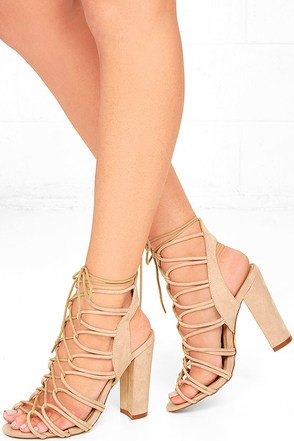 In Rotation Nude Suede Lace-Up Heels at Lulus.com!