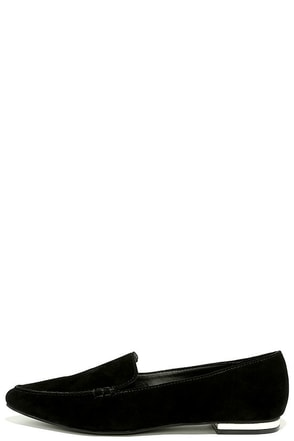 Steve Madden Fausto Black Suede Leather Loafers at Lulus.com!