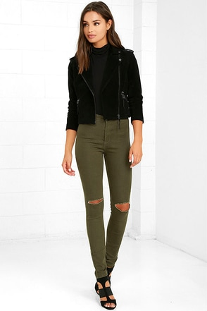 Practice Makes Perfect Olive Green High-Waisted Skinny Jeans at Lulus.com!
